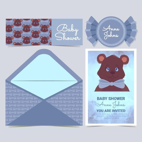 Cartão bonito do chuveiro de bebê do urso do vetor