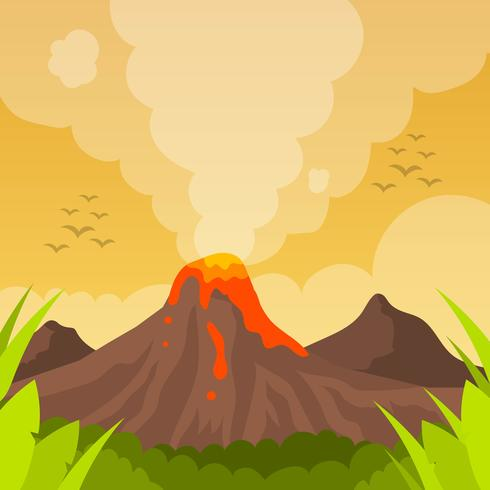 Flat Volcano Eruption With orange sky Vector Background Illustration