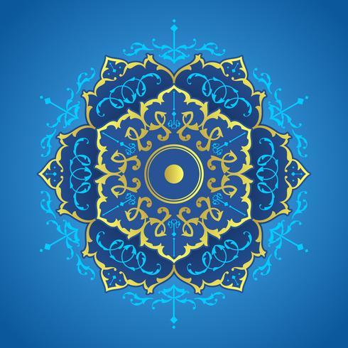 Blue And Gold Mandala Decorative Ornaments Vector