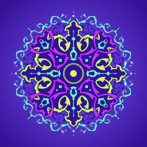 Mandala decoratieve ornamenten paarse achtergrond Vector