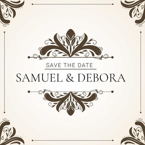 Huwelijksuitnodiging met decoratieve elementenvector