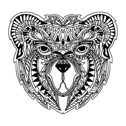 vector del oso zentangle