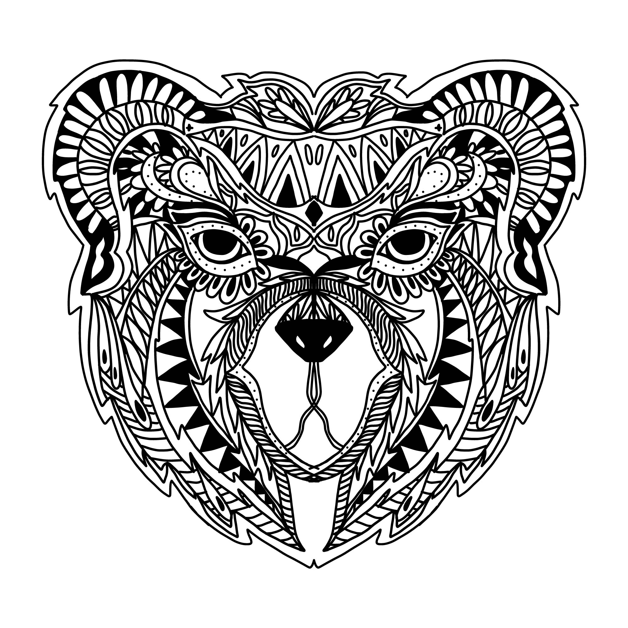 Zentangle Bear Vector Download Free Vector Art Stock