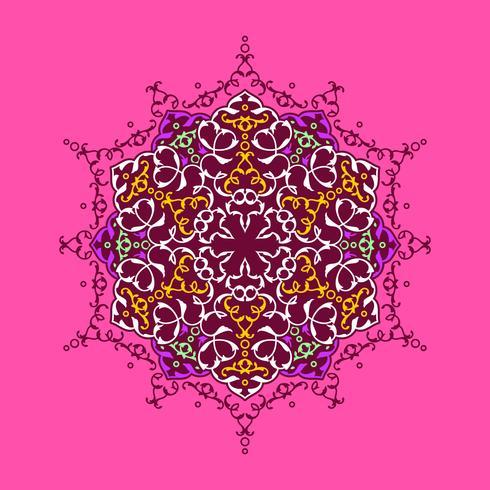 ornamento decorativo mandala rosa fundo vector