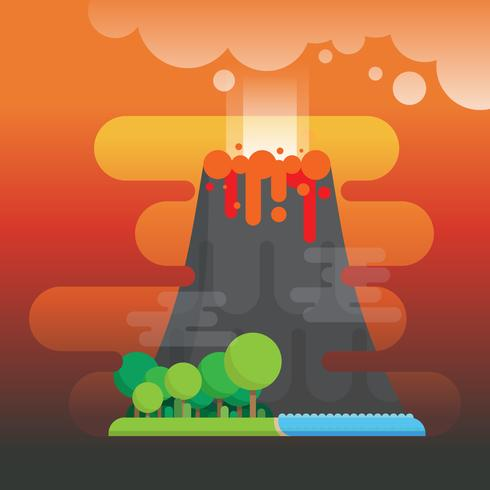 Volcano Eruption with Forest and Ocean Illustration