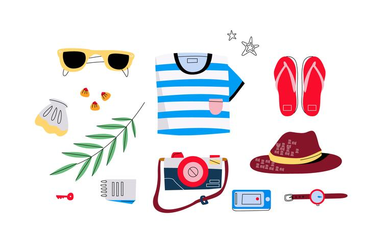 Hombre de playa con accesorios Knolling Starter Pack Vector Illustration