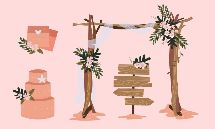 Conjunto de ilustración de Vector de elemento de boda de playa