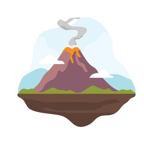 Ilustração de erupção de vulcão