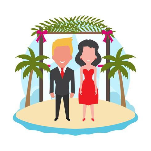 Ilustración de Vector de boda de playa