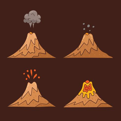 Vector dibujado a mano del volcán