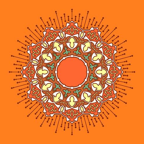 Mandala Decorative Ornaments Orange Background Vector