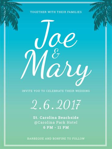 Strand bruiloft uitnodiging