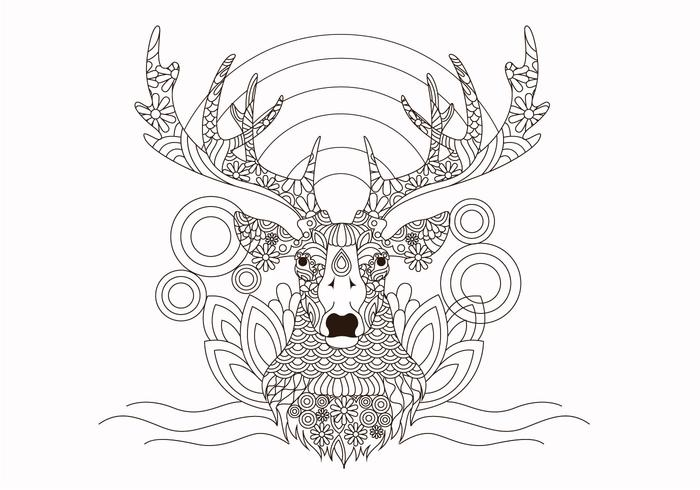 Coloring Book Djur Hjort Vector