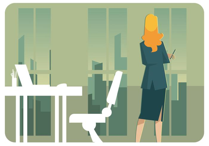 Business Woman Standing Vector