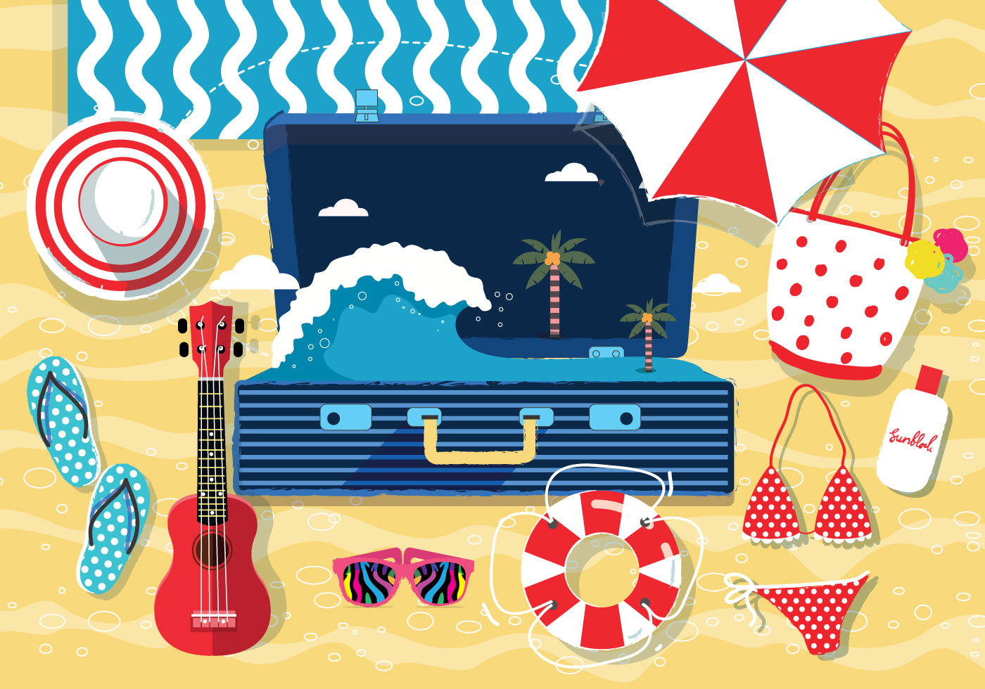 Beach Accessories Knolling Vol. 2 Vector - Download Free ...