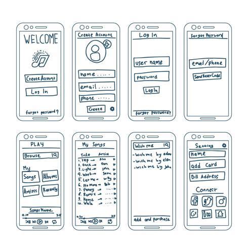 Elementos de wireframe de aplicativos de música