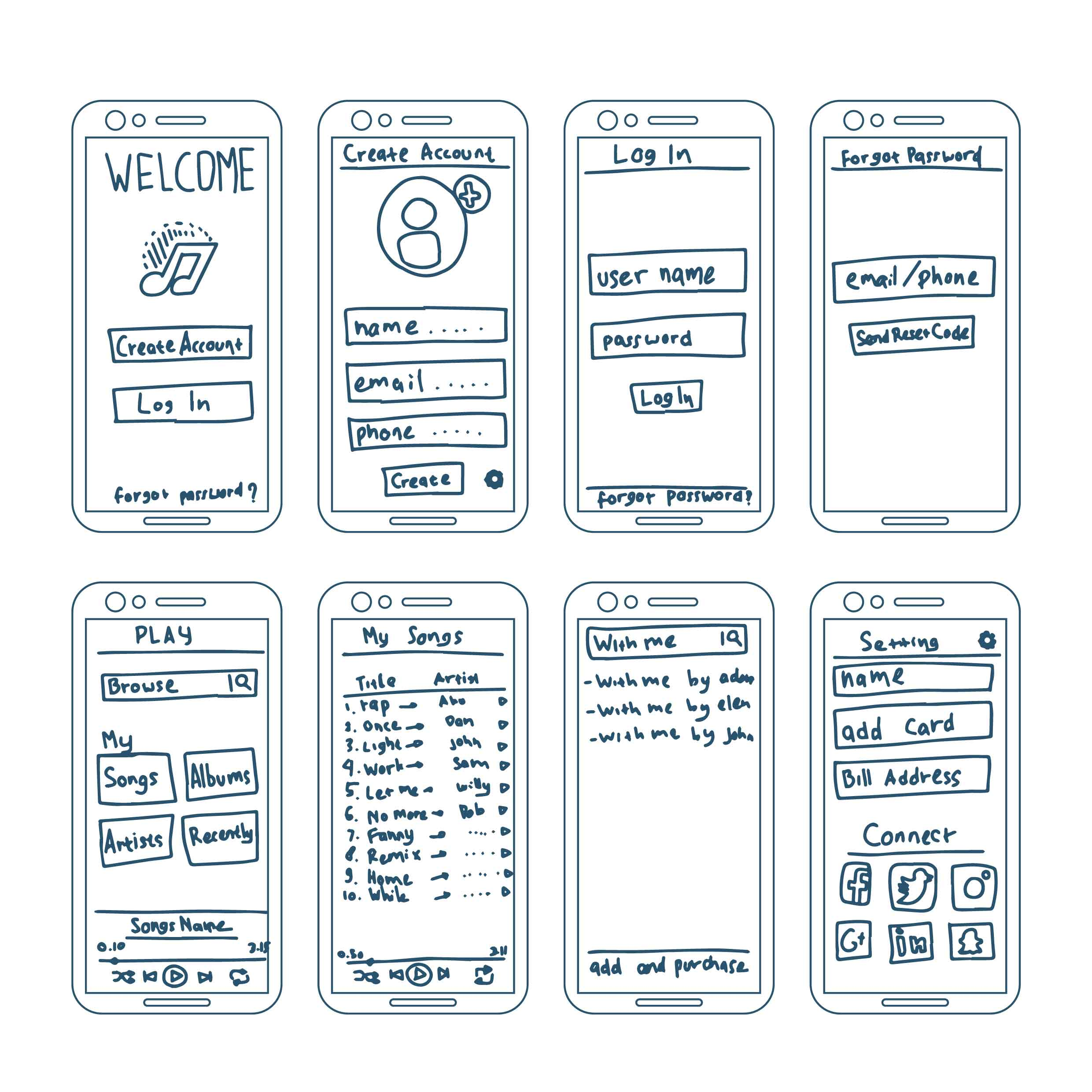 music apps wireframe elements