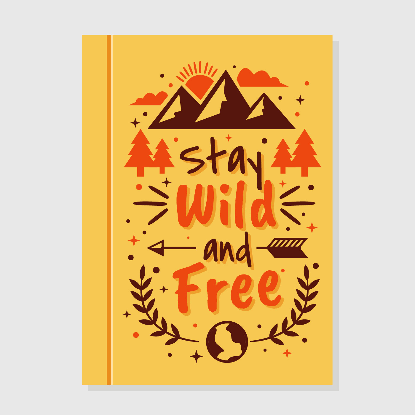 Typographic Book Cover Vector : Wild and free motivational book cover download