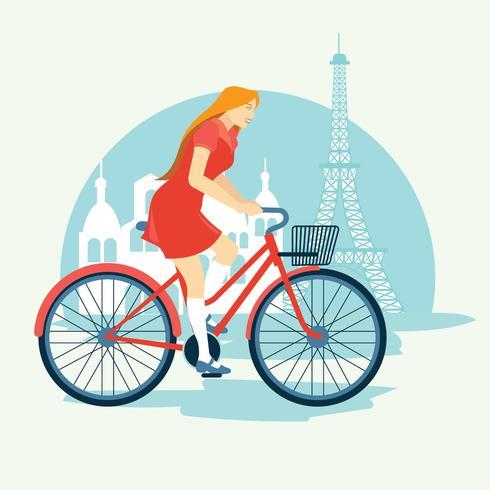 Woman Riding a Bike Bonjour Paris