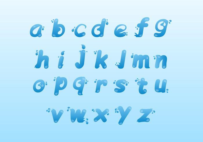 Jeu d'icônes de l'alphabet de l'eau