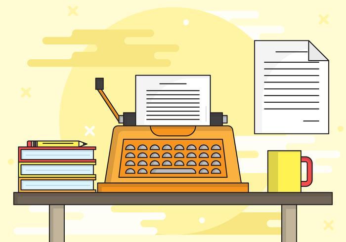 Ilustração de fundo de máquina de escrever