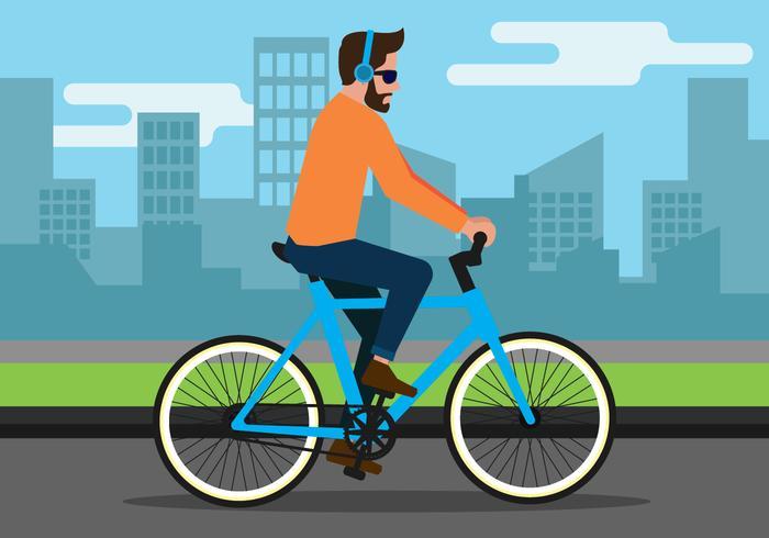 Homem, montando, um, bicicleta