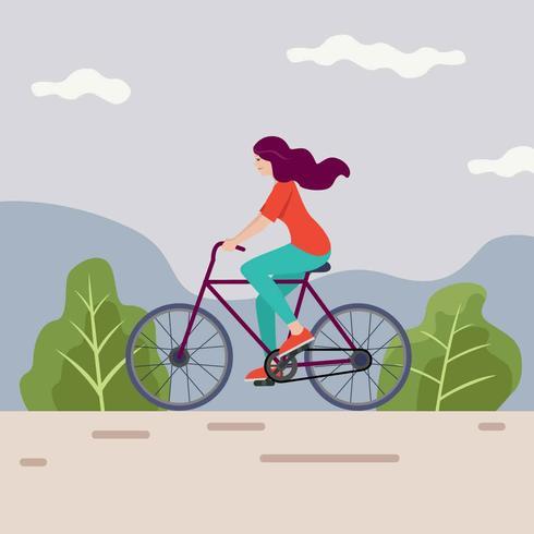 Montando uma bicicleta Vector illustration
