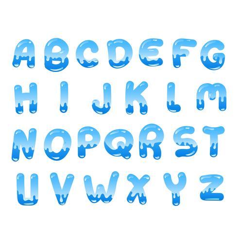 Alfabeto de agua vector