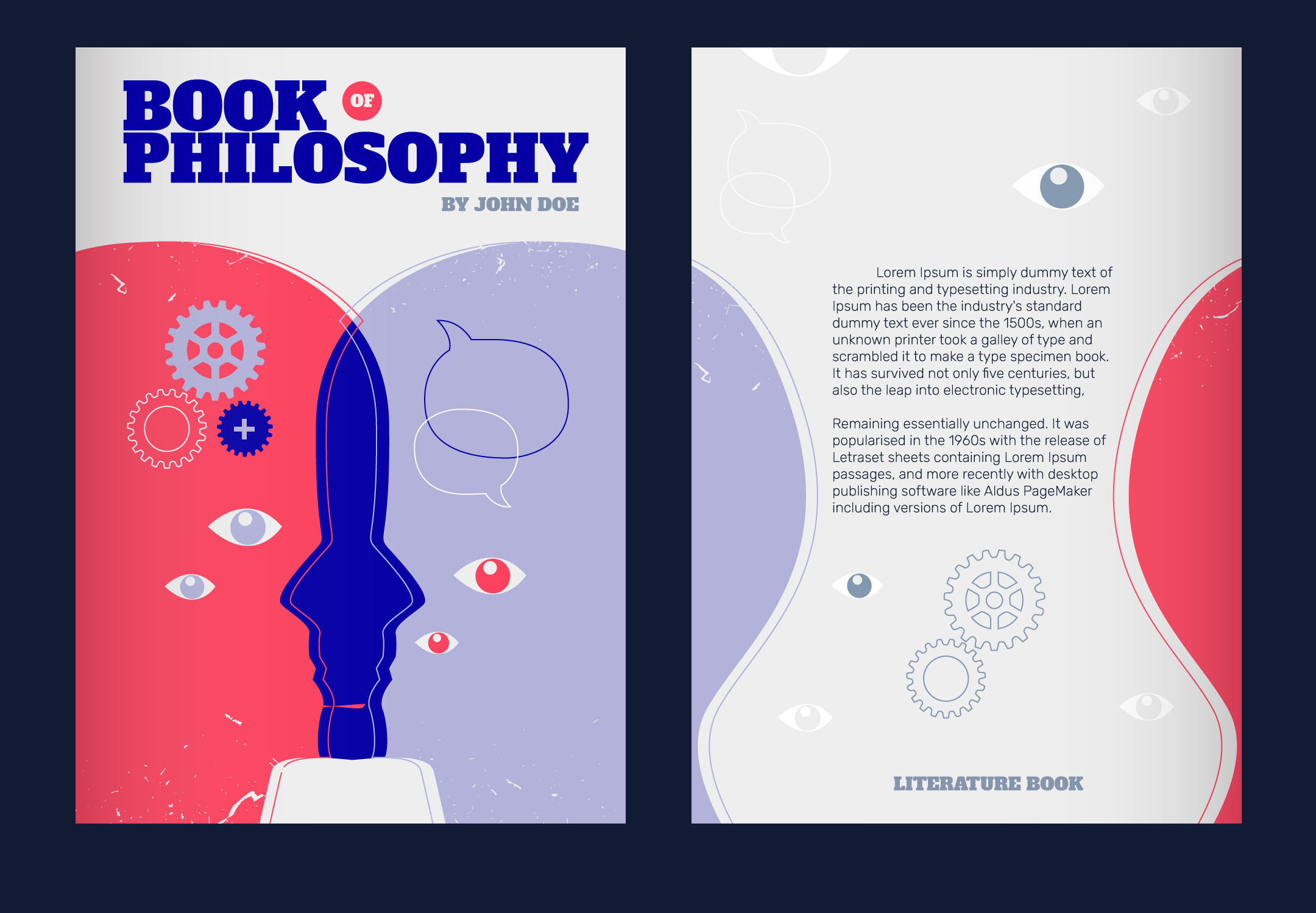 Minimalist Book Cover Quotes ~ Human mind concept vector illustration philosophy book cover