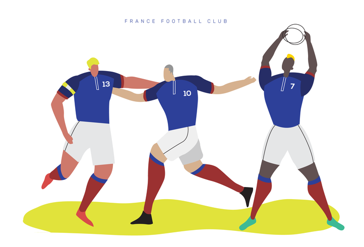 France World Cup Soccer Character Flat Vector Illustration