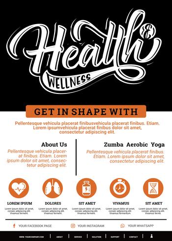 Folheto de saúde e bem-estar