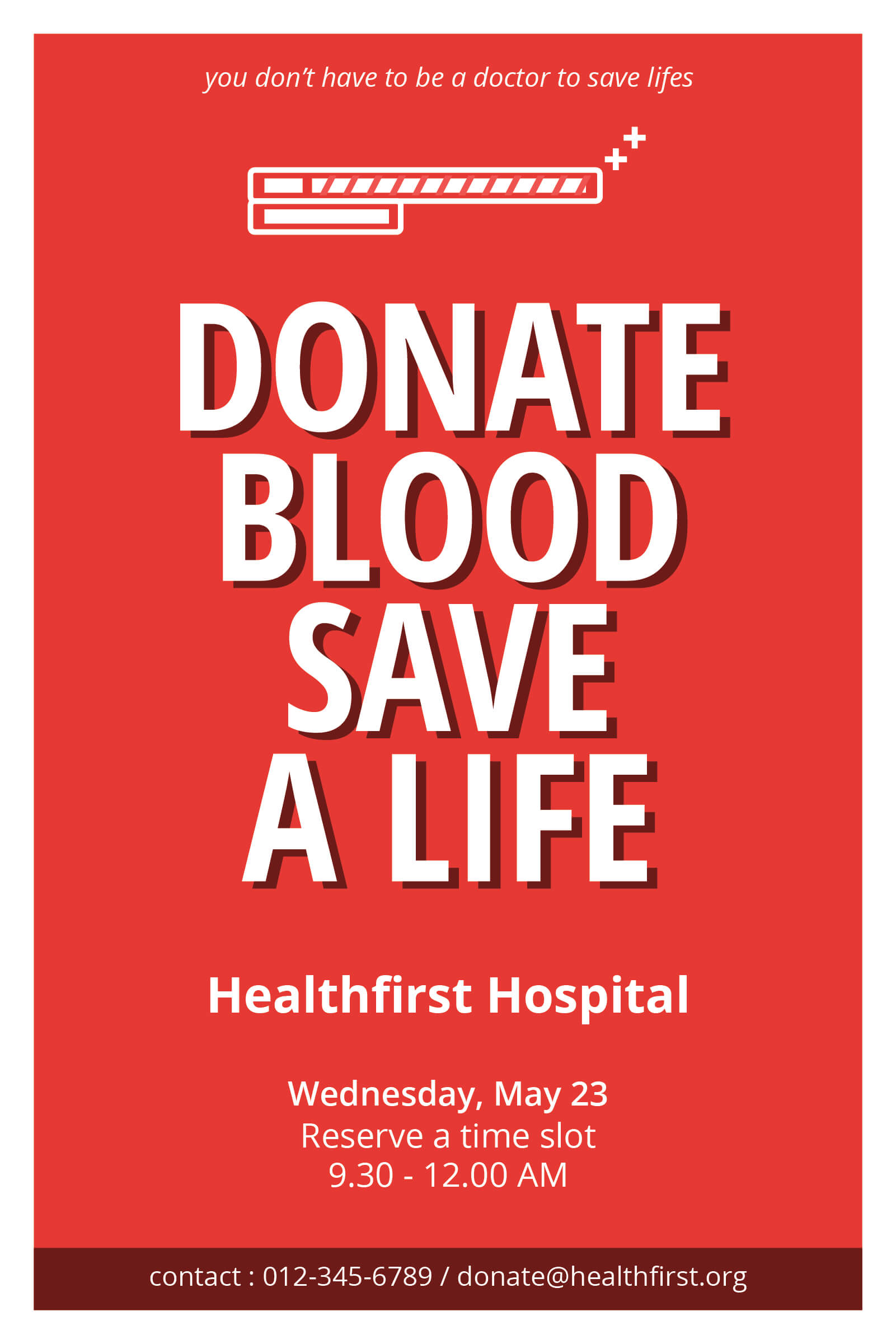 clean and minimalist blood donation leaflet