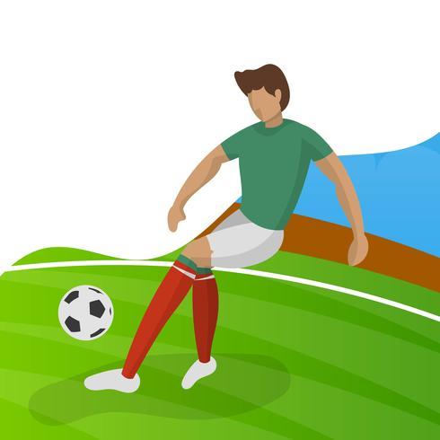 Jugador de fútbol minimalista moderno de México para la Copa del mundo 2018 driblar una pelota con el vector de fondo degradado