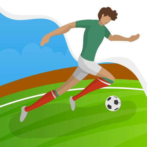 Modern Minimalist Mexico Soccer Player for World Cup 2018 dribble a ball  with gradient background vector Illustration