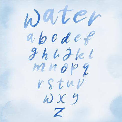 Water Alphabet Handlettering Vector