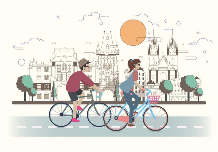 Einen Fahrrad-Vektor fahren