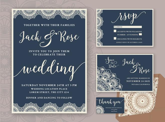 Rustic Wedding Invitation Design Template. Include RSVP card, Sa