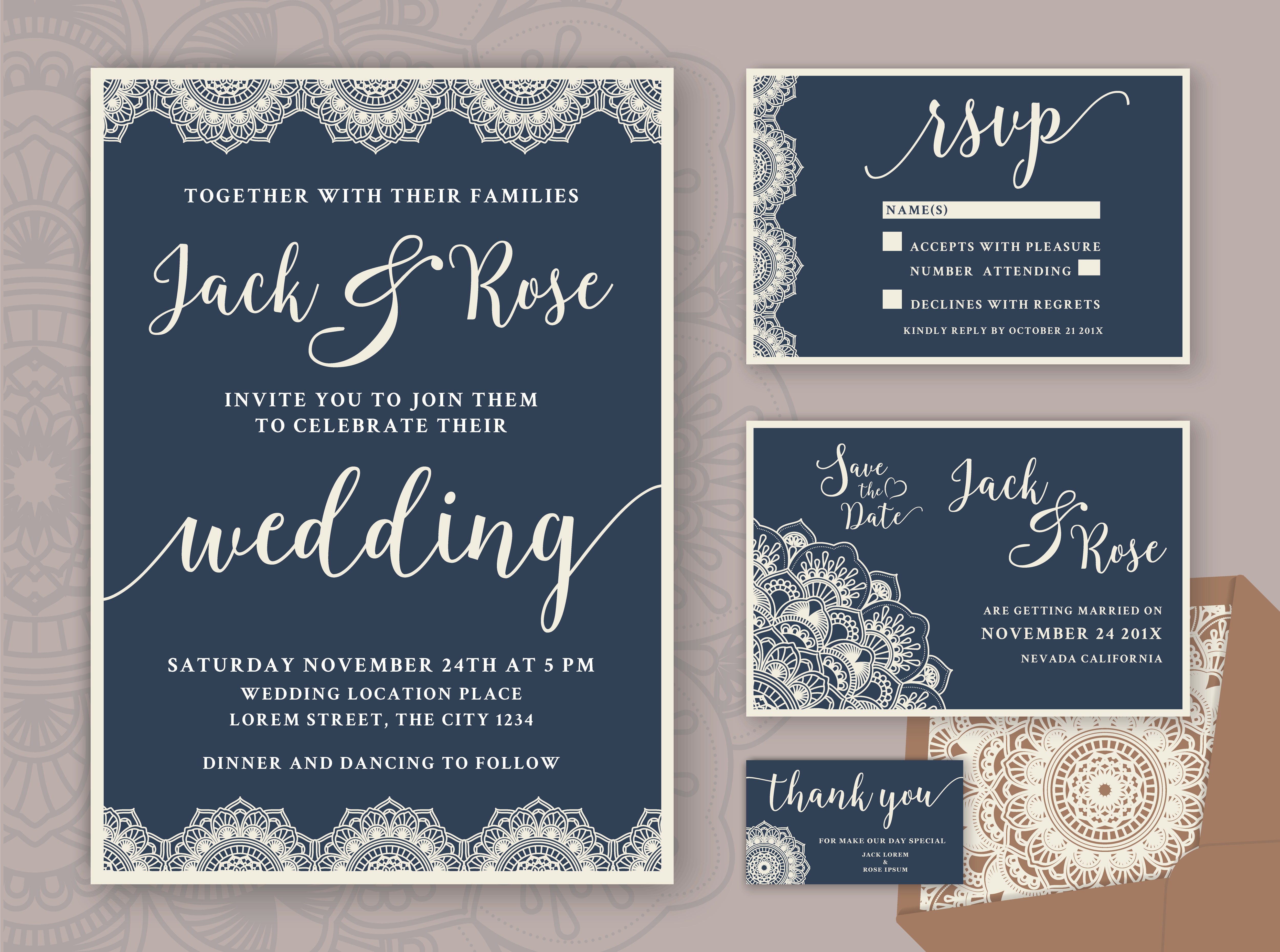 Rustic Wedding Invitation Design Template. Include RSVP