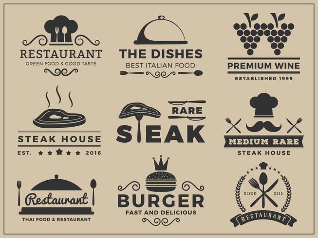 Logo insegne design per ristorante, steak house, vino, hamburger, vettore