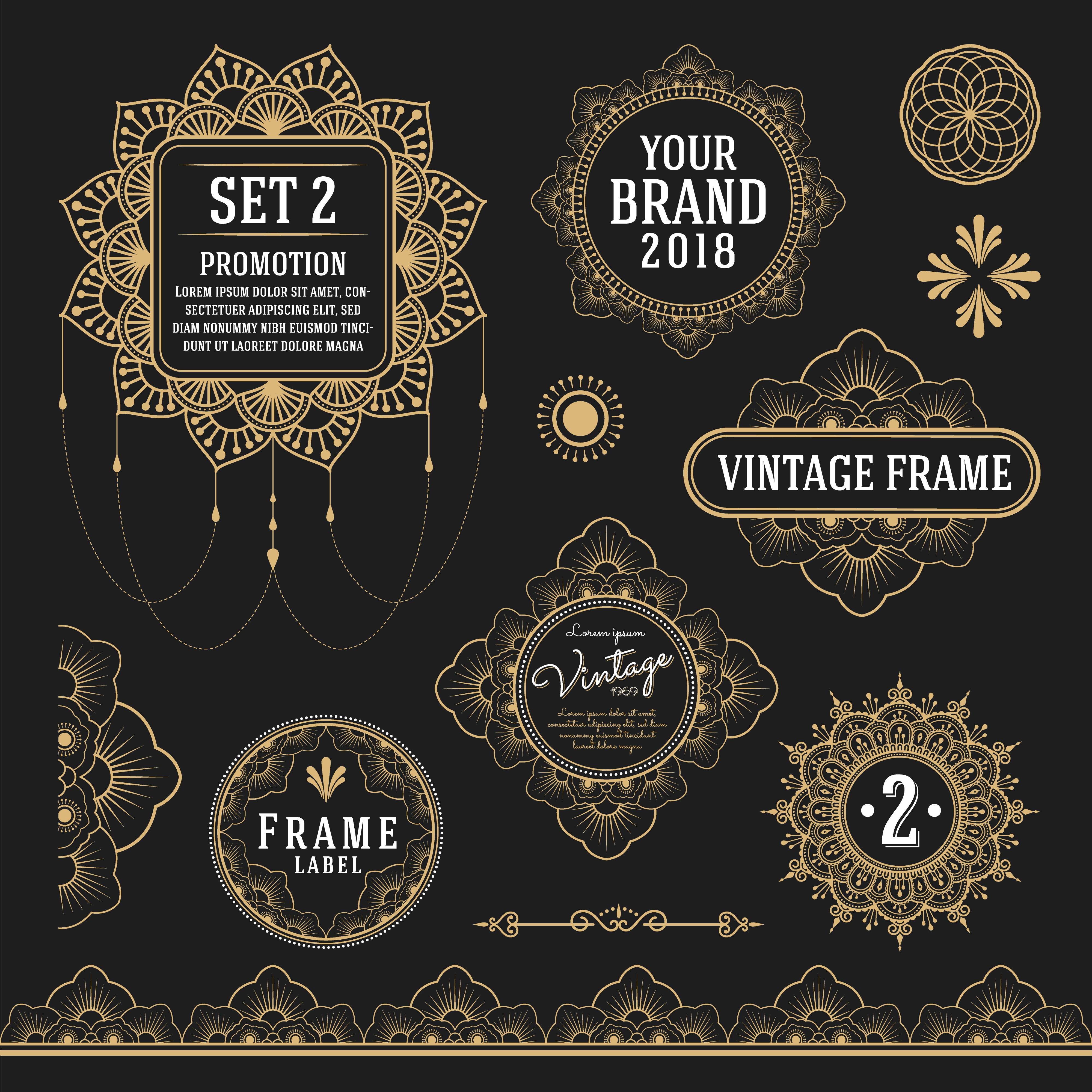 Set Of Retro Vintage Graphic Design Elements For Frame