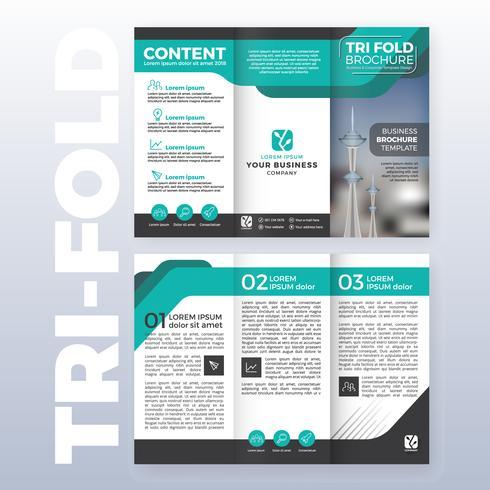 Conception de modèle de brochure d'affaires tri-fold avec couleur Turquoise