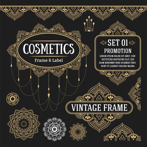 Set of retro vintage graphic design elements for frame, labels,