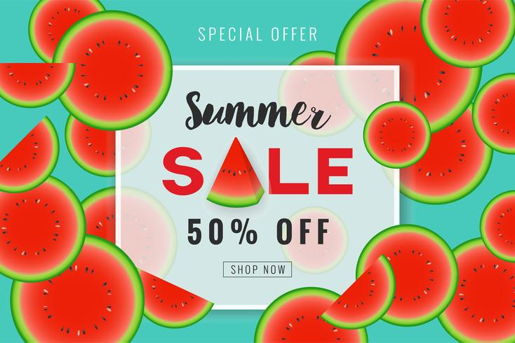 Summer sale promotion banner background design with slice waterm