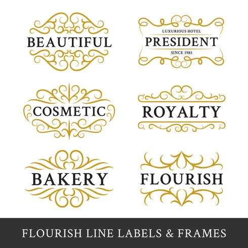 Set of flourish calligraphy frames design for business and produ