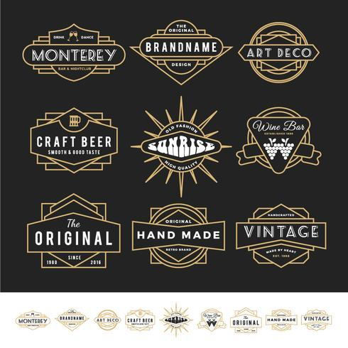 Set of retro badge logo for vintage product and business such as