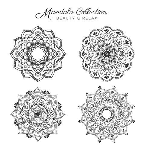Conjunto de mandala decorativa e ornamental design vetor