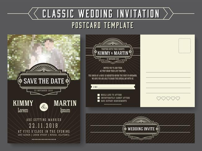 Classic vintage wedding invitation card design