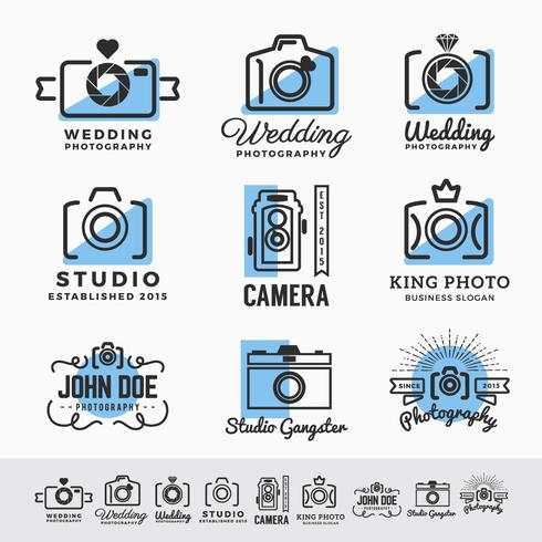 Set of photography and camera service logo insignia design. vect