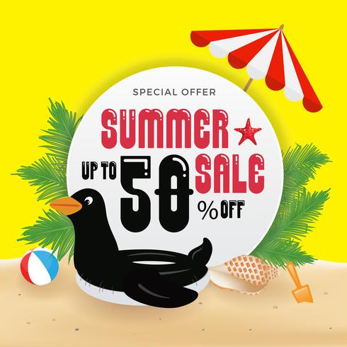 Summer Sell Promotion Banner Background and Objects Design with