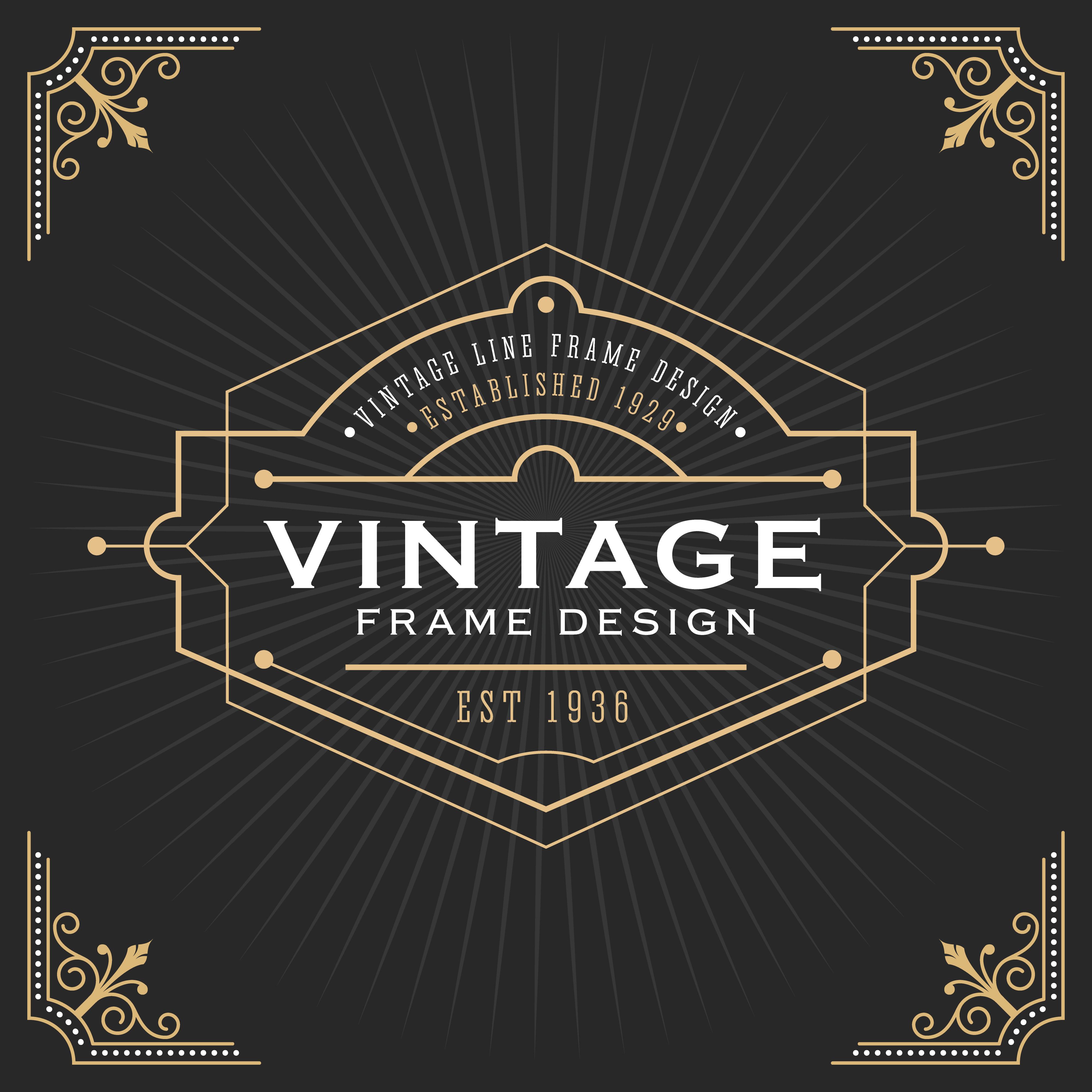 Vintage Line Frame Art Deco Style Download Free Vectors